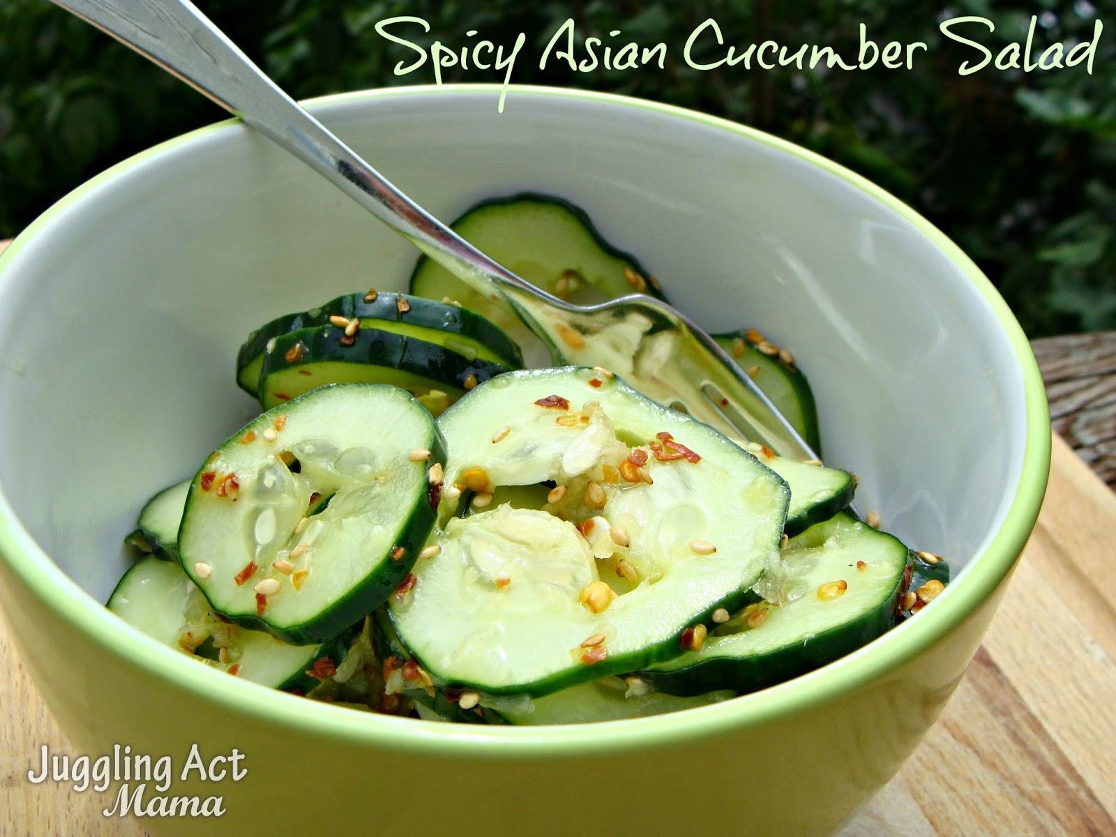 Spicy Asian Cucumber Salad via Juggling Act Mama