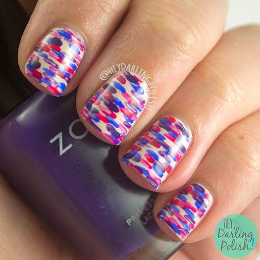 nails, nail art, nail polish, hey darling polish, pattern, dashes, pink, purple, blue, guest post