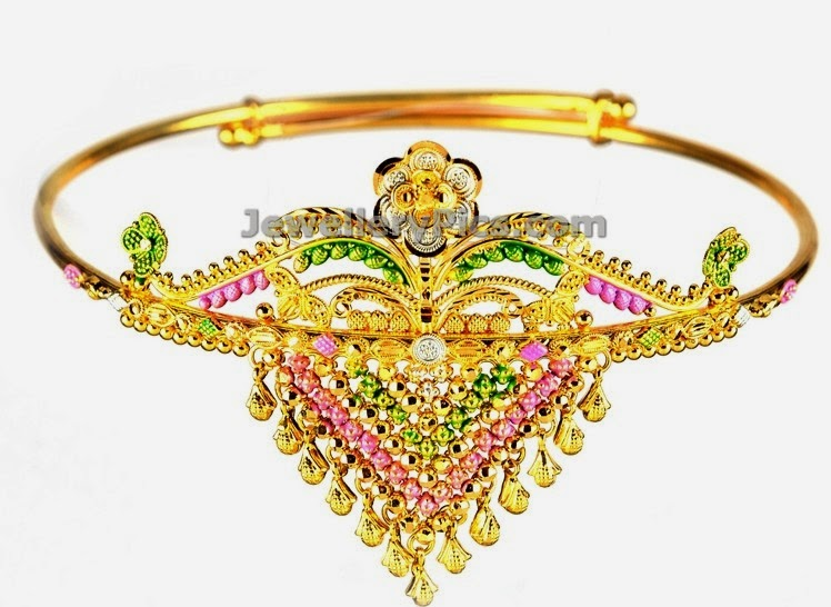 floral arm band with gold and enamel