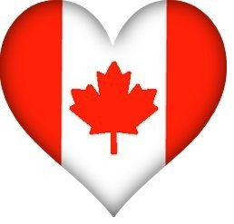 heart shaped Canadian Flag