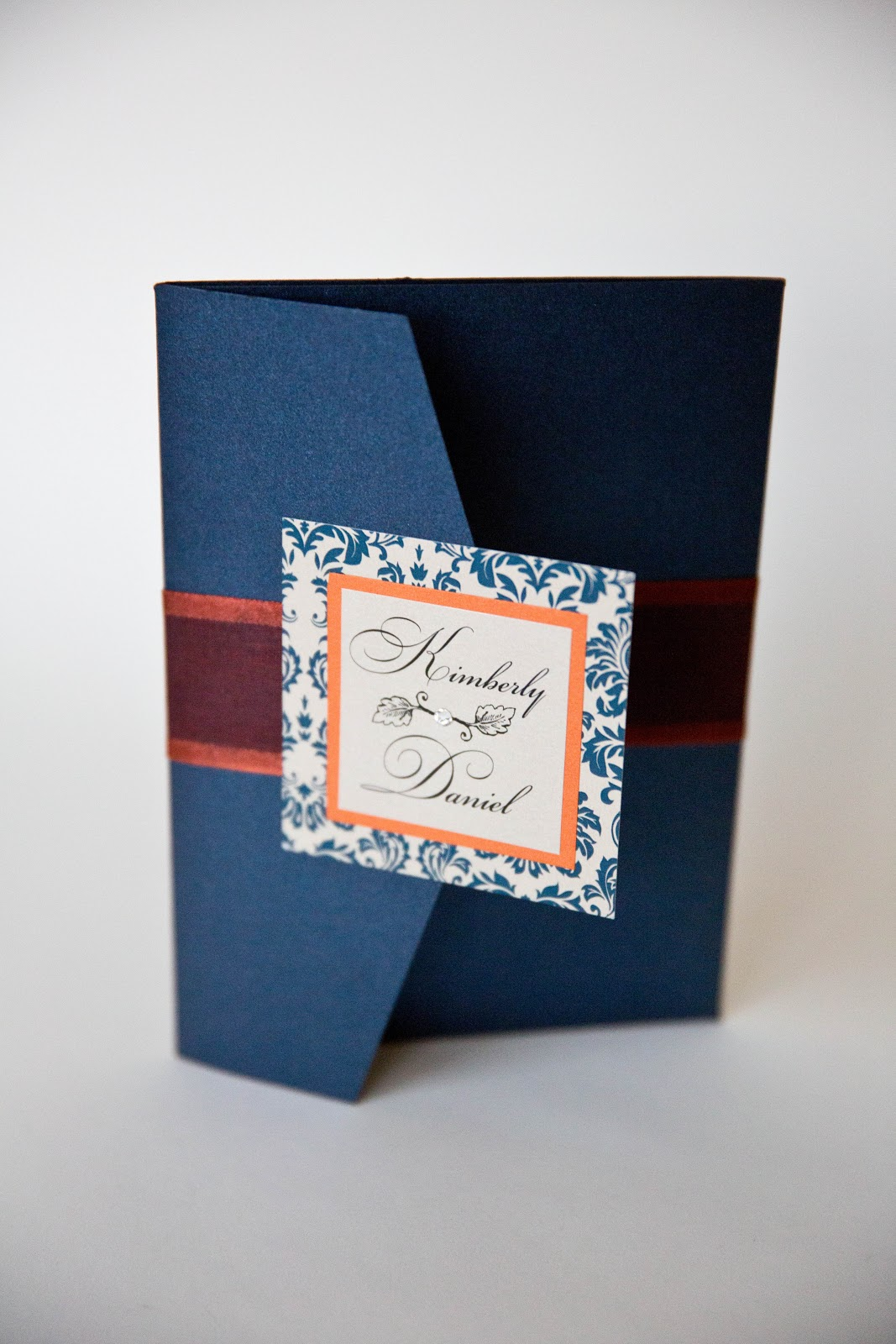 Fall Wedding Invitations Navy Orange