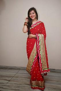 Actress Priyal Gor Pictures in Red Saree at Saheba Sumanyam Premiere Show  13.jpg