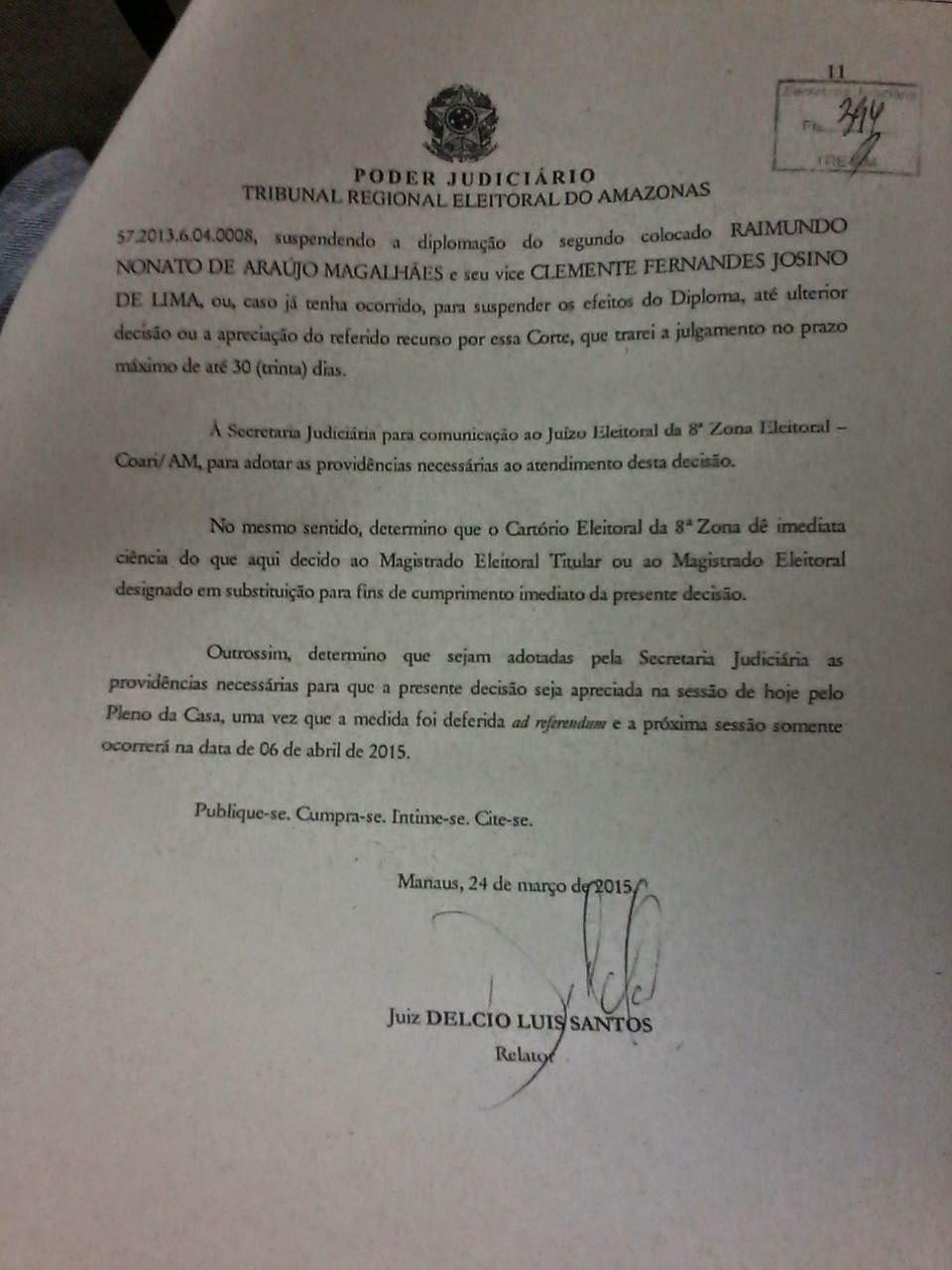 JUÍZ ELEITORAL SUSPENDE DIPLOMAÇÃO DE MAGALHÃES