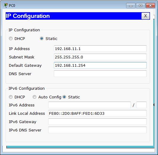 Konfigurasi IP address PC0