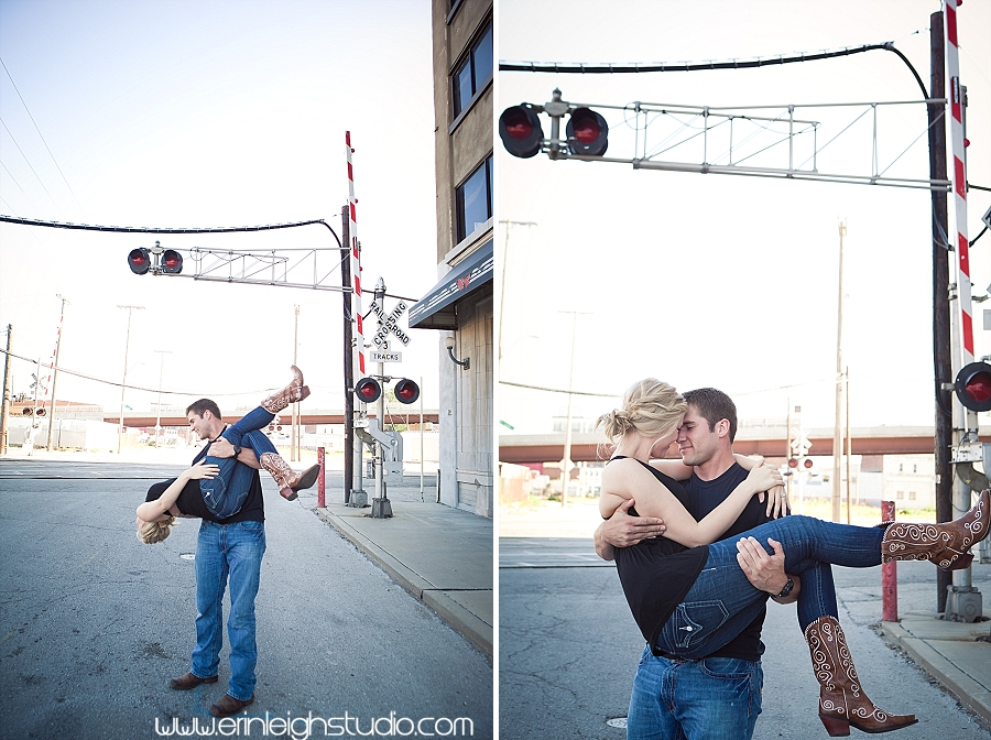 engagement session on railroad tracks