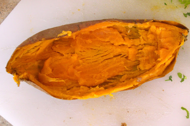 hollowed out sweet potatoes