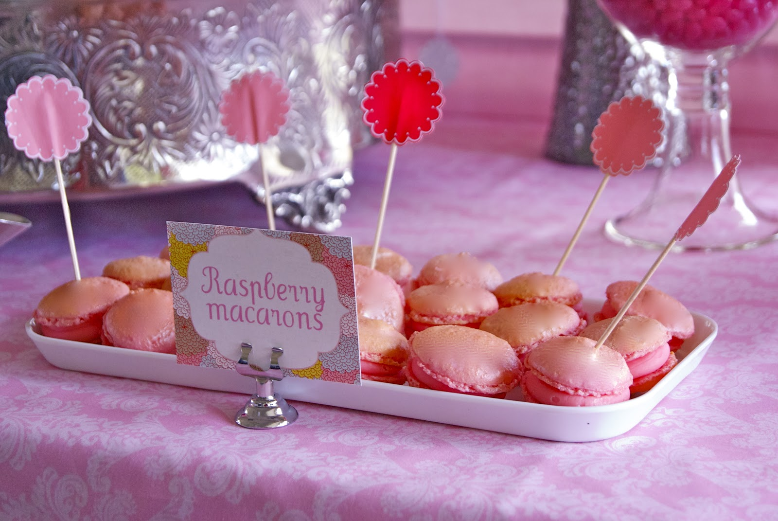 The Inspired Occasion: Simple Pink Christening Table with Pompoms