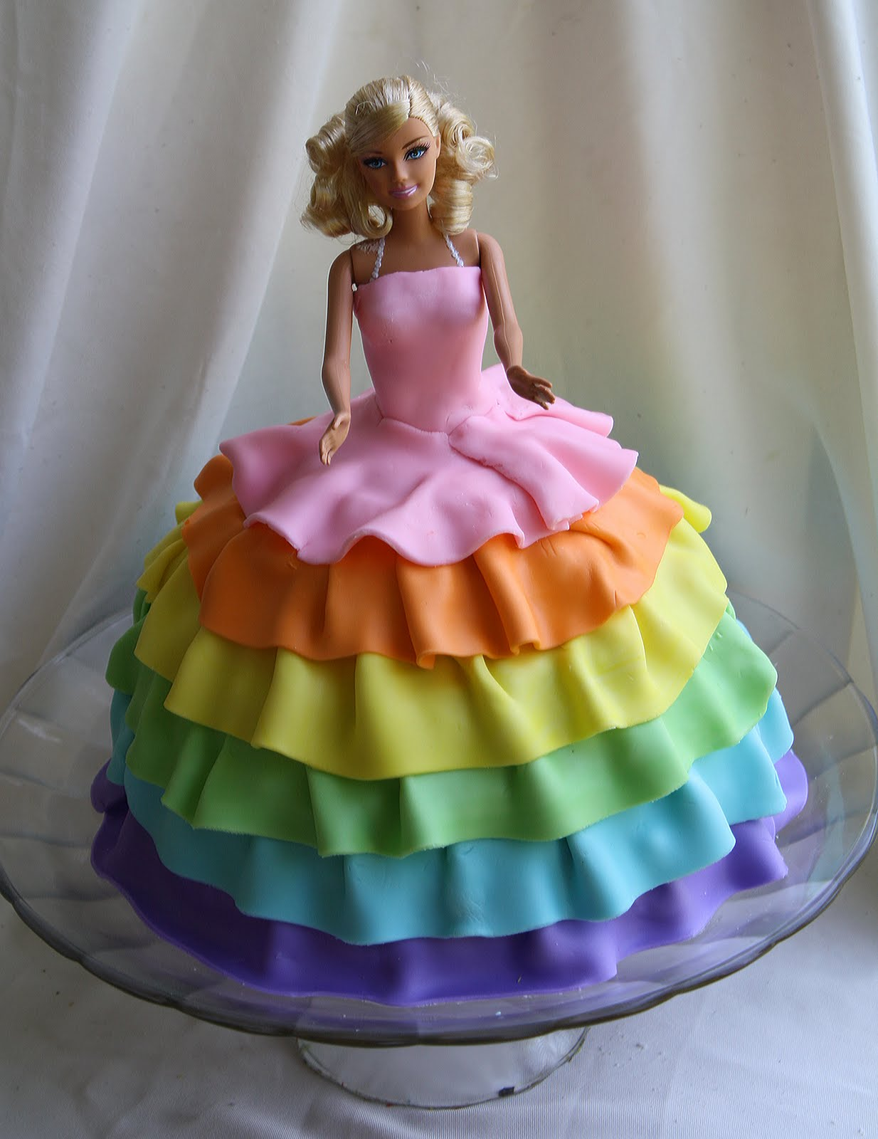 Images Of Barbie Birthday Cake : Rainbow Barbie Cake