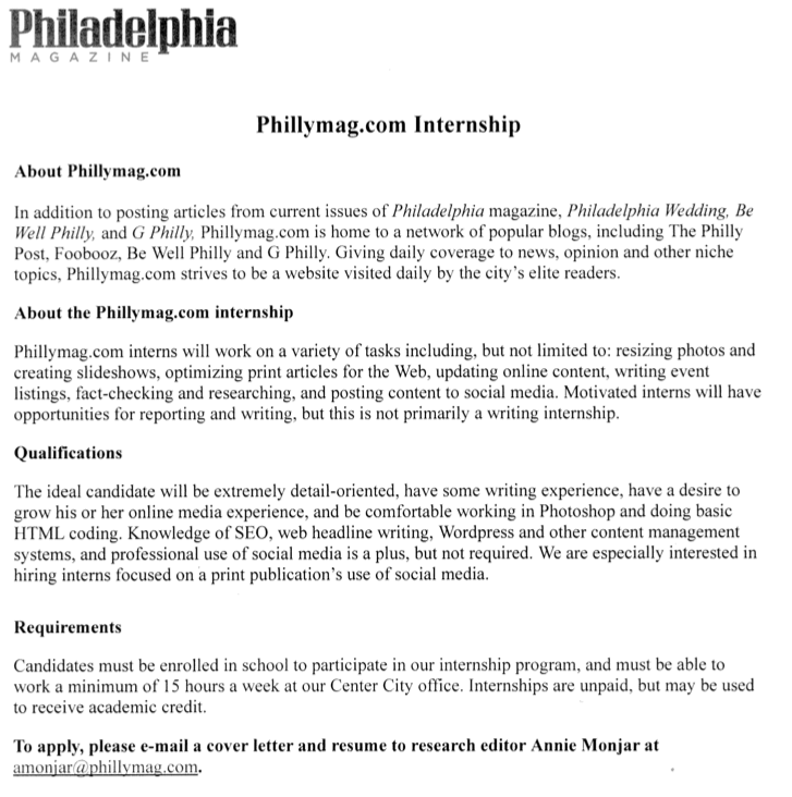 villanova english  philadelphia magazine internships