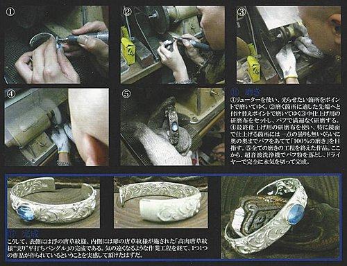 日本雕金師吉原直(legend)的高肉唐草手鐲的制作工程