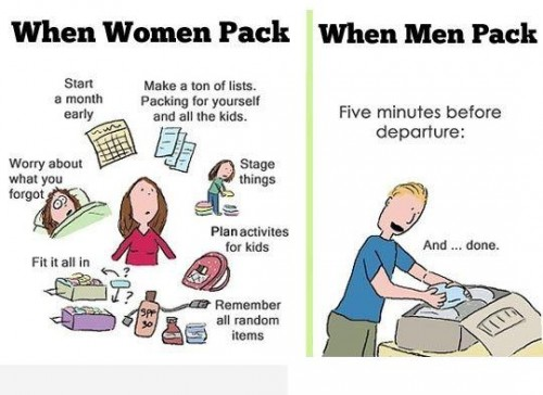 20 Hilarious But True Differences Between Men And Women - On packing