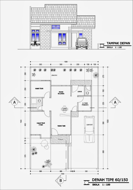 Denah Rumah Type 60 Modern Minimalis