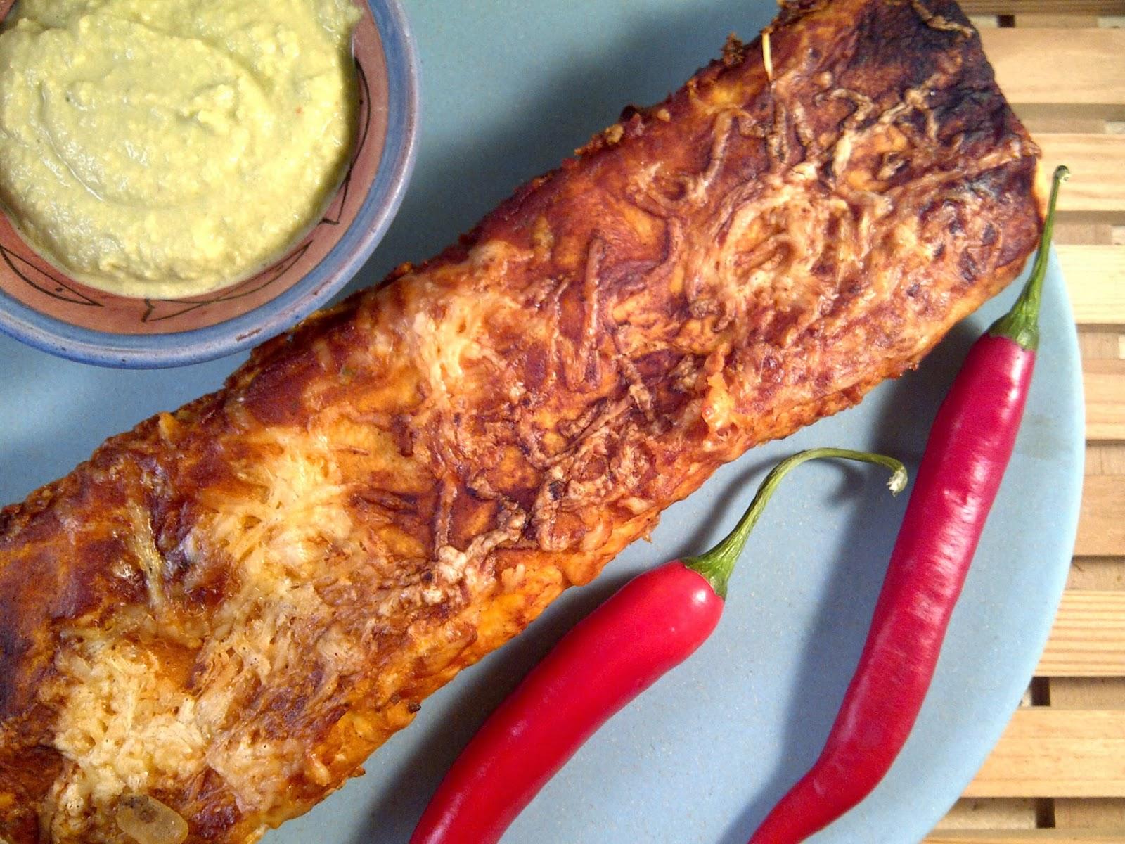 Pittige rundvlees enchilada met guacamole   oesters & uien