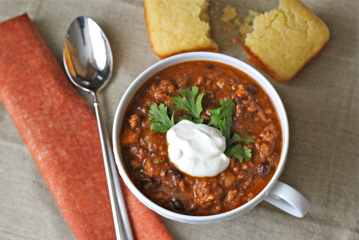 Crockpot turkey chili with butternut squash & apples ... and best-evah ...