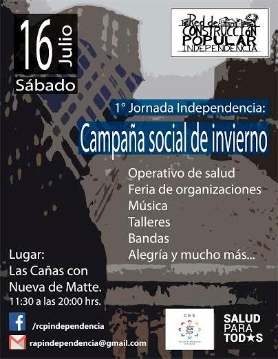 INDEPENDENCIA:  1° JORNADA, CAMPAÑA SOCIAL DE INVIERNO