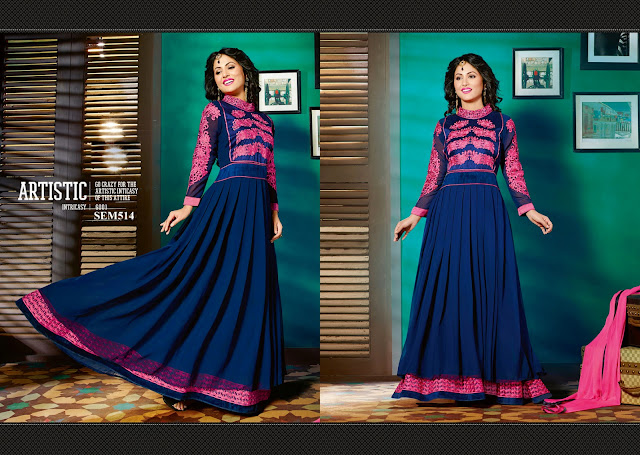 Hina Khan In Designer Floor Touch Anarkali Suit