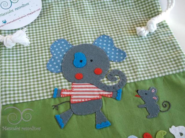 Bolsa de merienda Elefante y ratón - detalle