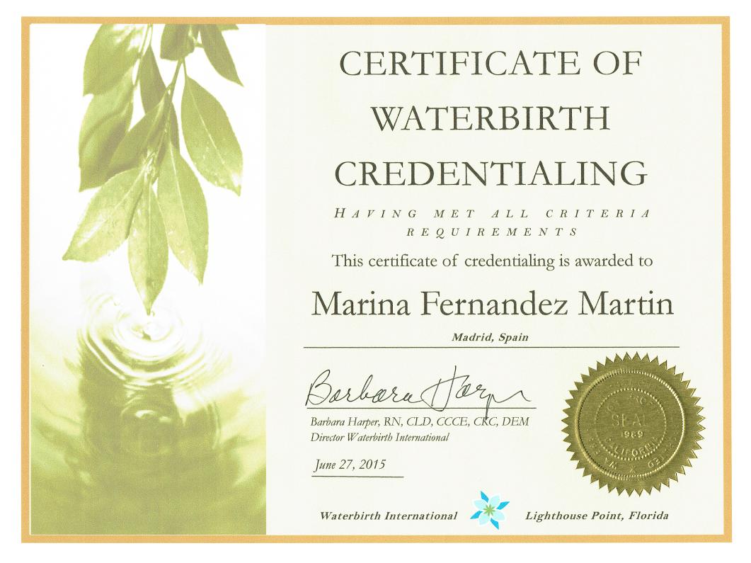 Acreditación Parto en el Agua