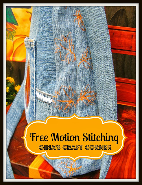 Free Motion Stitching on bag