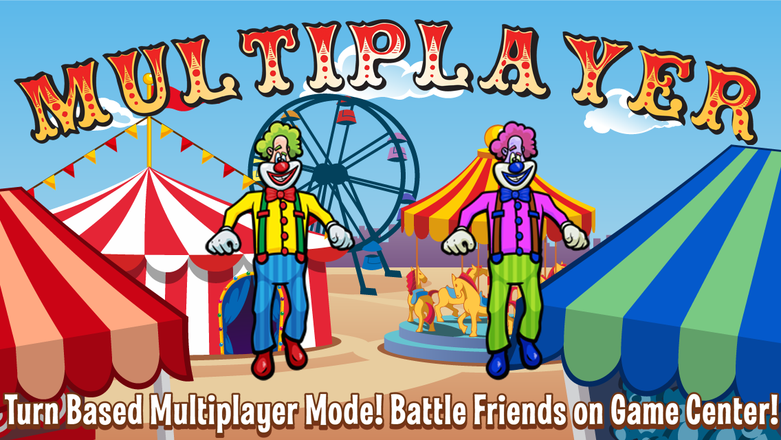 Laugh Clown Professional Balloon Dodger iPhone 5 Promo Art: 'Turn-based multiplayer mode battle friends on Game Center!'