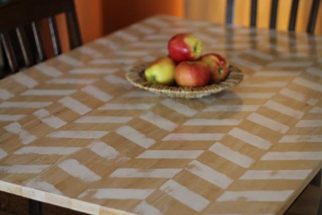 DIY Herringbone Table Makeover
