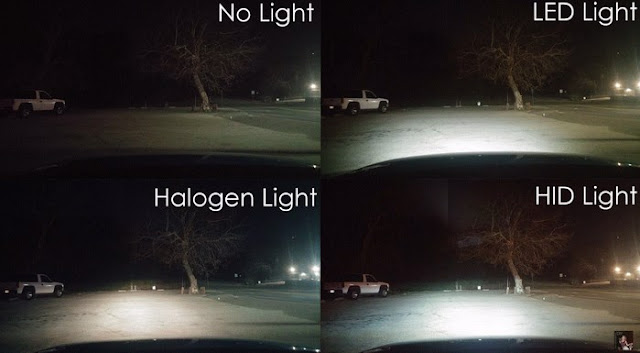 Perbedaan Nyala Cahaya Lampu Halogen, LED dan HID