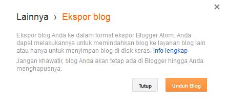 Ekspor Blog untuk unduh semua postingan