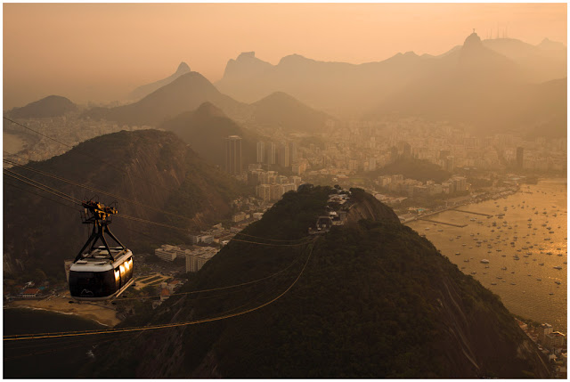 A photograph of the view of Rio de Janeiro taken from the top of sugar loaf in Brazil