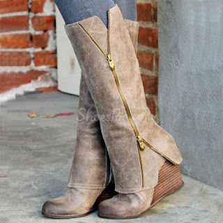 Glamurous Wedge Knee-High Boots with Zipper