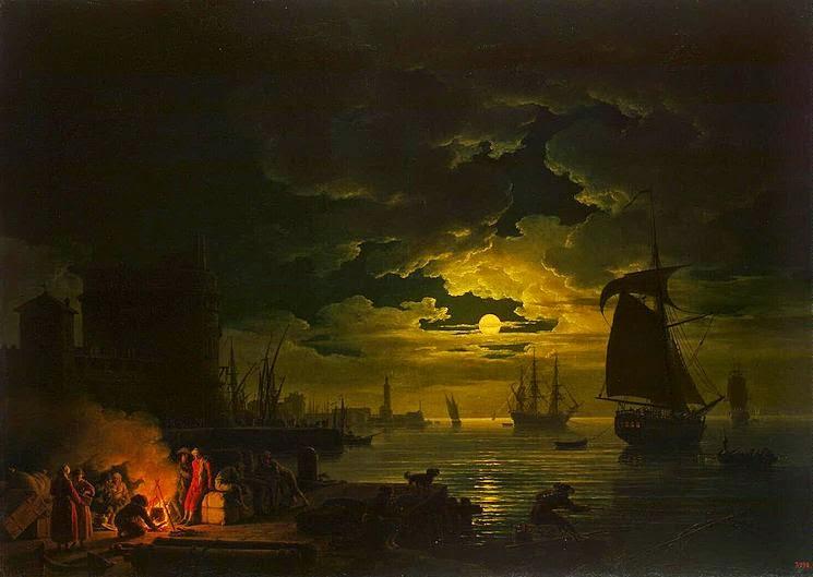 Entrata del porto di Palermo al chiaro di luna