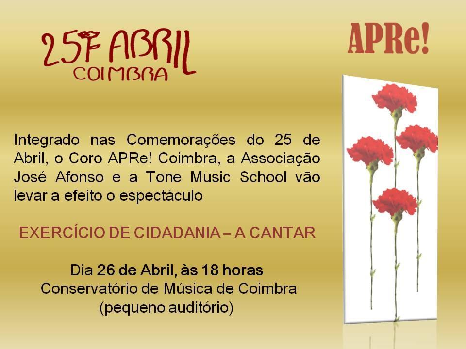 Espectáculo comemorativo do 25 de Abril em Coimbra