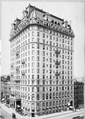 brownstone rowhouses still flank the soaring limestone hotel upon its completion the hotel bears striking similarities to hardenberghs plaze hotel