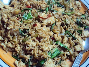 eggs fried rice with bok choy .........