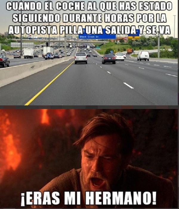 Cuando vas detrás de otro auto