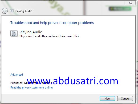 cara mengatasi suara tidak keluar di windows 7