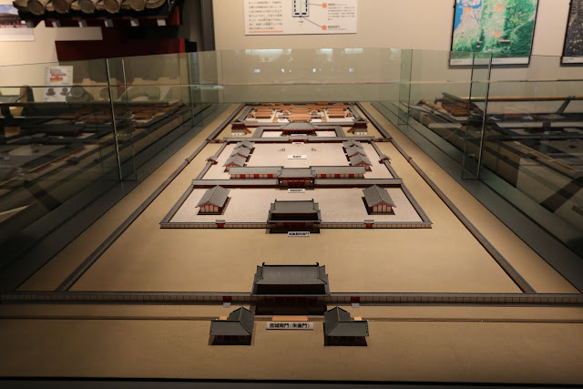 Japanese palace model at Museum of History in Osaka, Japan