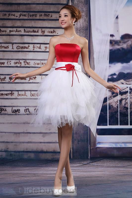 Style A-Line Strapless Short-Length Bowknot Sweet 16 Dress
