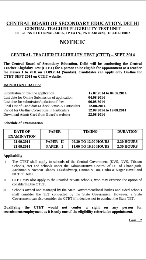 Central Teacher EligibilityTest (CTET) 2014 Notification