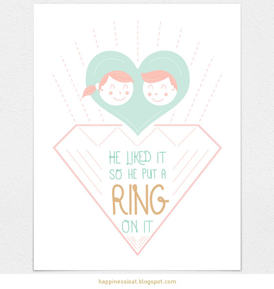 he liked it so he put a ring on it - wedding stationery