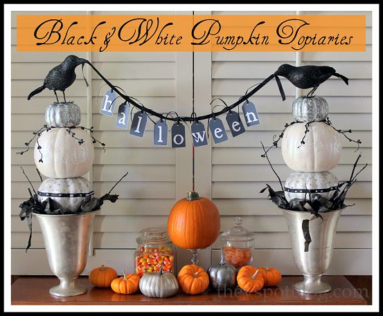 Black and White Pumpkin Topiaries by The V Spot via Funky Junk Interiors