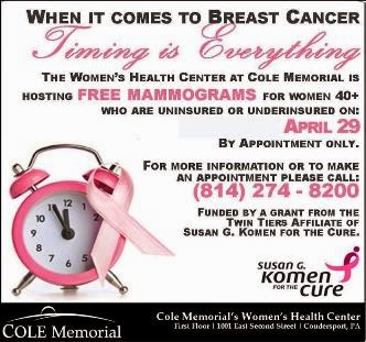 4-29 Free Mammograms Cole Memorial
