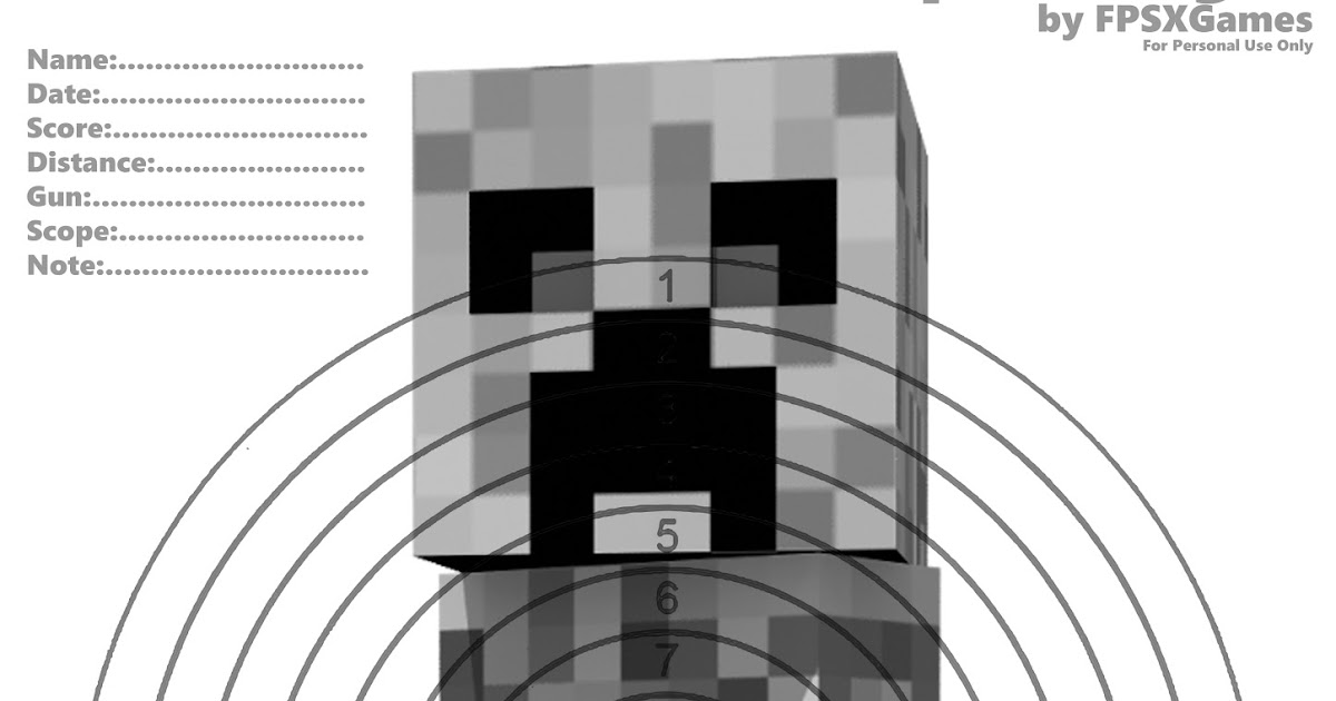 fpsxgames printable minecraft targets