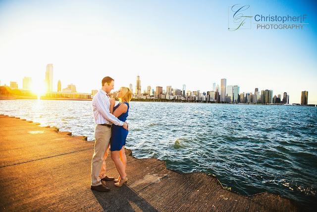 Chicago Skyline at Sunset Engagement Photo