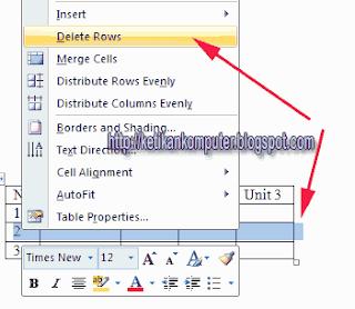 menghapus kolom dan baris dalam ms word 2007