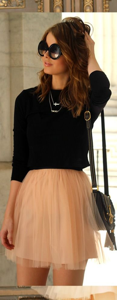Beautiful nude chiffon skirt with simple black top