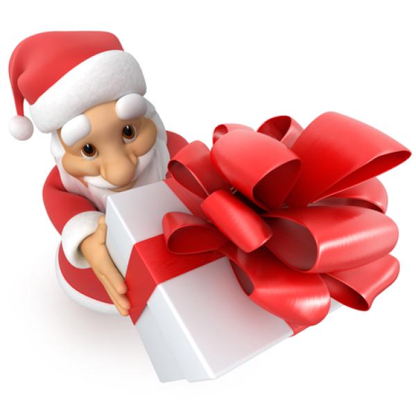 Santa gives a gift
