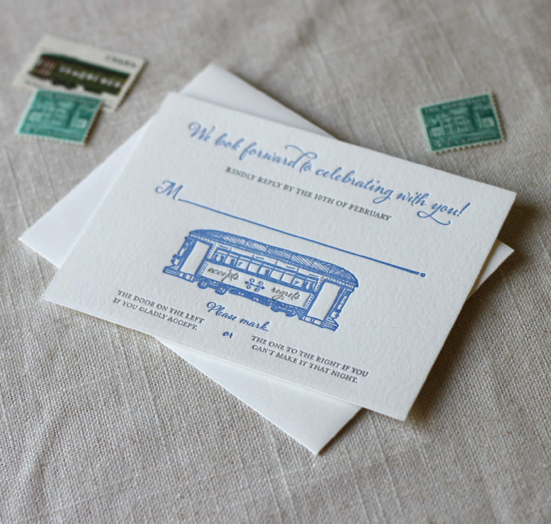 New Orleans Streetcar Wedding Invitations