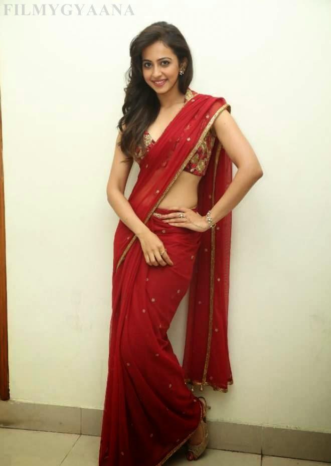 Rakul Preet Singh Hot Navel Show In Red Sarees Pics