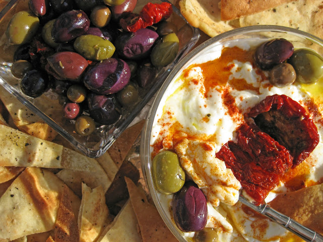 This photo of labneh yogurt cheese shows how to serve it.