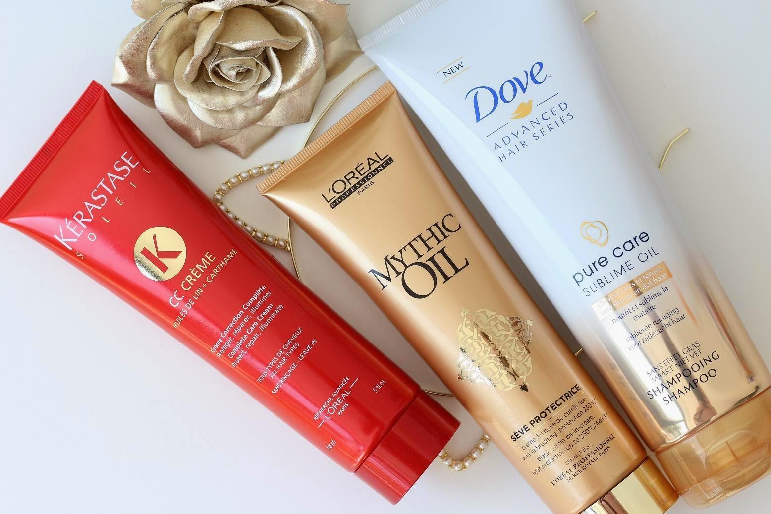 Kérastase CC Crème - L'Oréal Professionnel Mythic Oil - Dove Pure Care Sublime Oil
